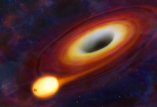Artwork of a star being distorted by a supermassive black hole.