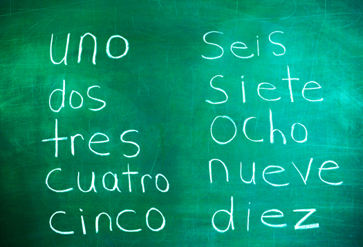 Numbers in Spanish on Chalkboard