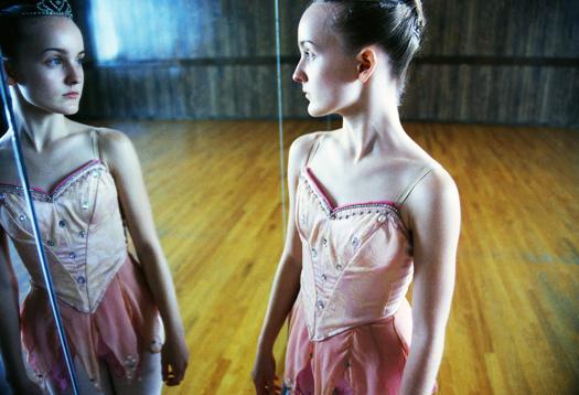 Ballerina Looking in Mirror