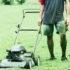 lawn mower and gardener