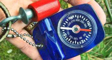 blue compass and bird whistle