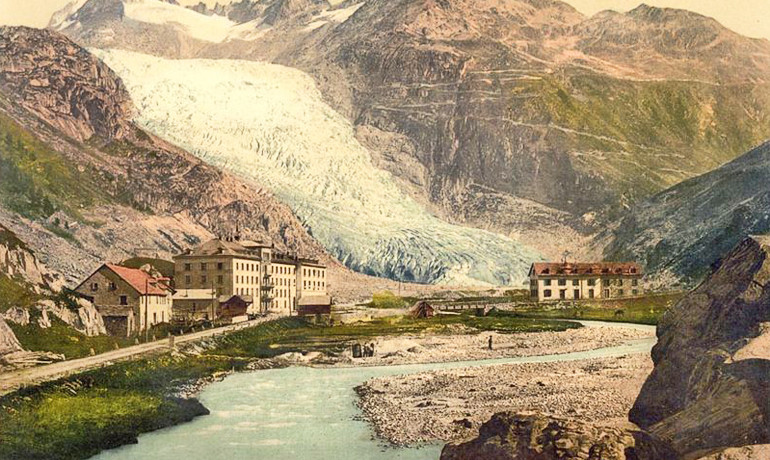 Between 1860 and 1930, large valley glaciers in the Alps abruptly retreated an average of nearly 0.6 mile (1 kilometer) while temperatures in Europe dropped nearly 1.8 degrees Fahrenheit (1 degree Celsius). (Credit: Snapshots of the Past/Wikimedia)