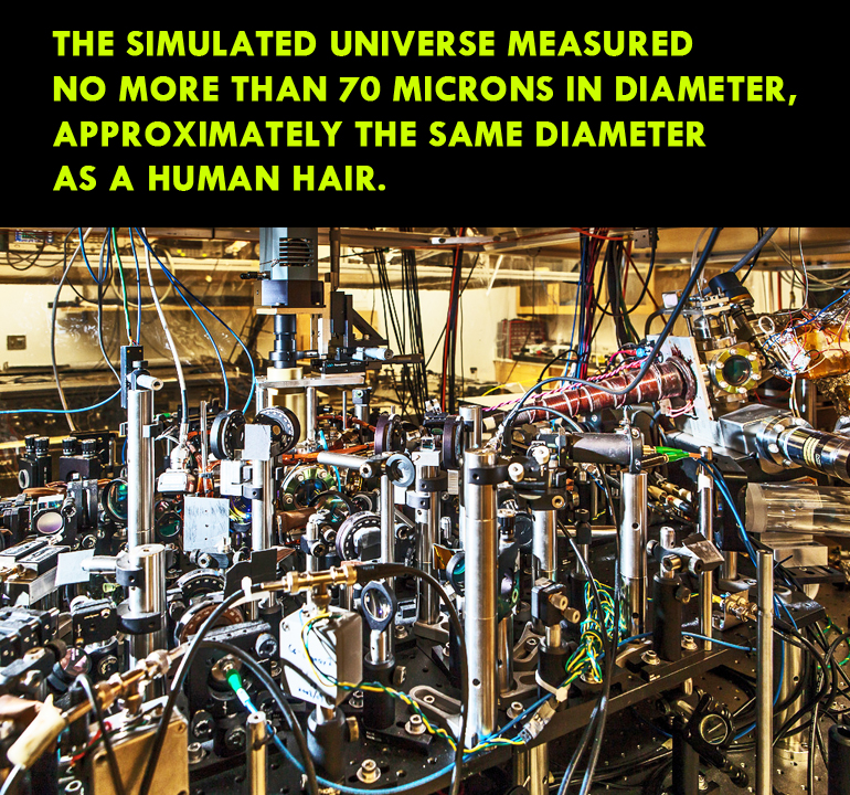 Physicists conducted experiments with ultracold atoms in this experimental apparatus to see if they could reproduce the same kind of evolution that cosmologists have observed in the early universe. (Credit: Jason Smith)
