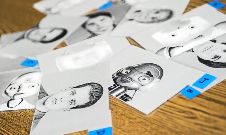 Participants were shown a series of photos portraying either robotic, human, or mixed human-robot faces and were asked to select the one that they would prefer for their robot's appearance. (Credit: Georgia Tech)