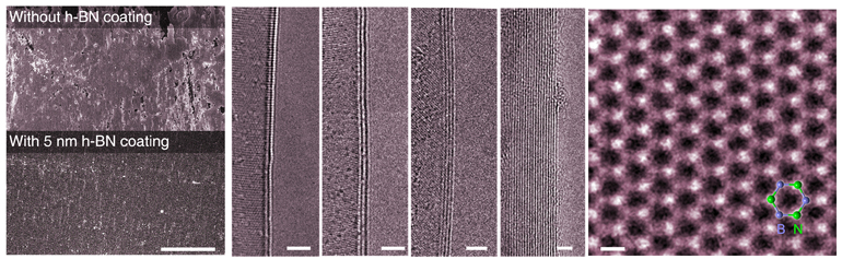The left image shows uncoated nickel oxidized after exposure to high temperature in an oxygen-rich environment. Second from left, nickel exposed to the same conditions with a 5-nanometer coat of h-BN. The third image shows electron microscope images of two, three, four and many-layer h-BN films. The right image of an h-BN sheet shows the hexagonal arrangement of nitrogen (bright) and boron atoms. (Credit: Zheng Liu/Rice University)