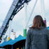 woman by rollercoaster