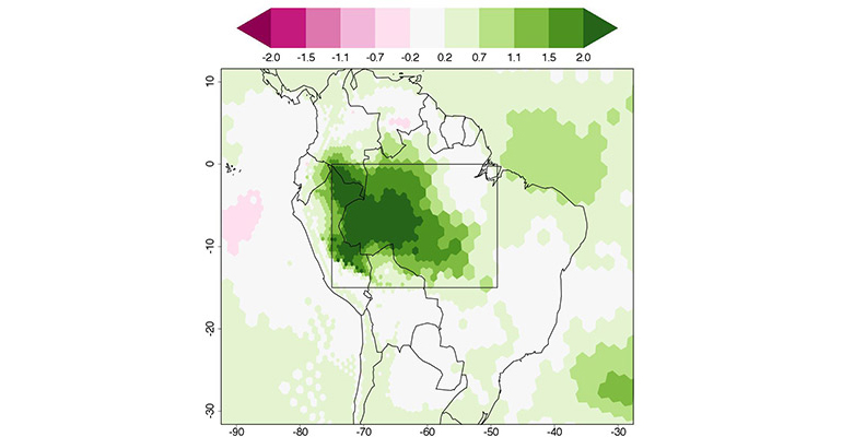 Deforestation will likely produce dry air over the Amazon. The researchers' model indicates that the surface temperature in the Amazon region would increase by up to 2 degrees Celsius (darkest green) over a 14-year period following deforestation. The region of Amazon deforestation is boxed. (Credit: David Medvigy/Princeton)