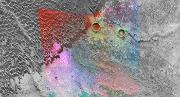 """NASA's Mars Reconnaissance Orbiter is providing new spectral """"windows"""" into the diversity of Martian surface materials. Here in a volcanic caldera, bright magenta outcrops have a distinctive feldspar-rich composition. (Credit: NASA/JPL/JHUAPL/MSSS)"""