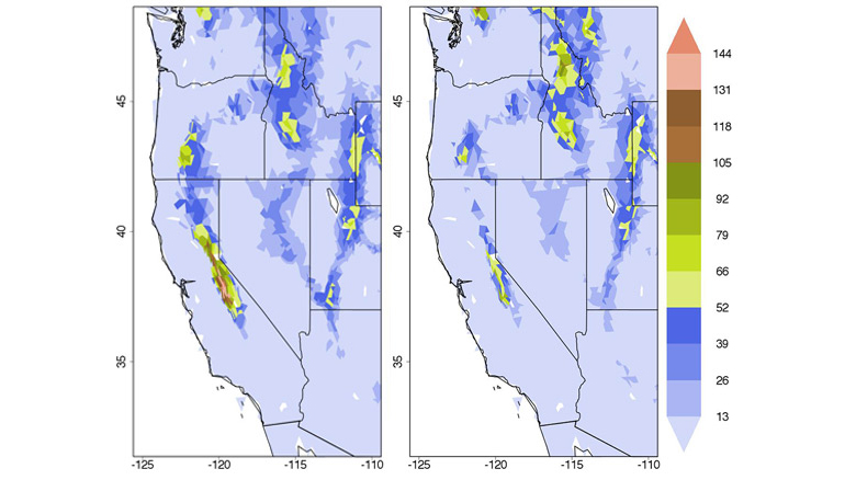 The simulation shows that the water equivalent of the snowpack by April 1 decreased in range and depth from pre-deforestation levels (left) when the Amazon was cleared (right). The depth is measured in centimeters with the redder areas indicating more snow. (Credit: David Medvigy/Princeton)