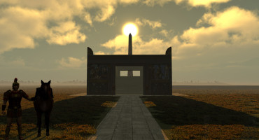 This virtual simulation image shows the sun atop the obelisk with the Altar of Peace in the foreground. (Credit: Indiana U.)