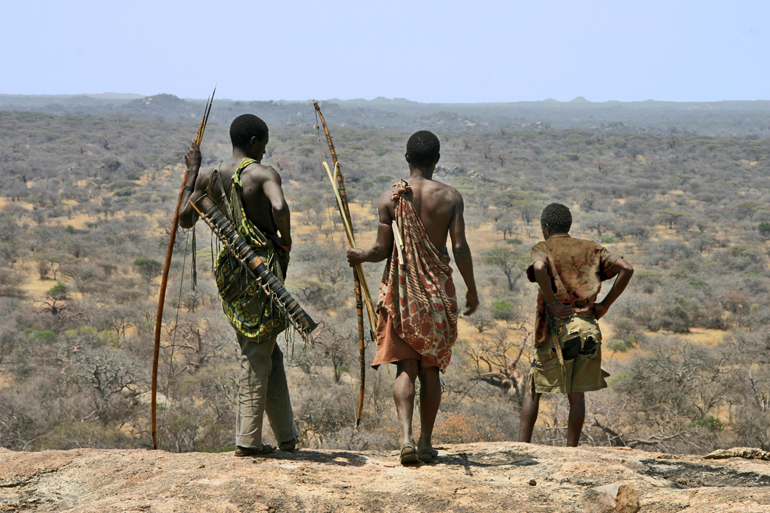 One of the last hunter-gatherer tribes on Earth, the Hadza people of Tanzania still hunt on foot with traditional foraging methods. (Credit: Brian Wood/Yale University)