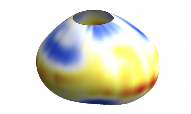 A 3D reconstruction of a droplet deformed by cellular forces. The colors on the droplet surface indicate the value of the forces at each point. The larger the force, the larger the droplet deformation. (Credit: Otger Campás/UC Santa Barbara)