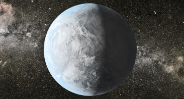 The artist's concept depicts Kepler-62e, a super-Earth-size planet in the habitable zone of a star smaller and cooler than the sun, located about 1,200 light-years from Earth in the constellation Lyra. Scientists do not know if Kepler-62e is a waterworld or if it has a solid surface. (Credit: NASA Ames/JPL-Caltech)