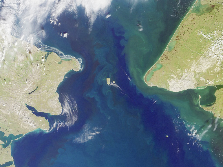 The Bering Strait is a shallow, 58-mile-wide channel between Russia and Alaska that connects the Pacific and Arctic oceans. The Chukchi Sea is to the north, and the Bering Sea is to the south. (Credit: NASA)
