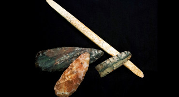 Researchers have sequenced the genome of the Ice Age skeletal remains of a one-year-old Clovis boy who was found near a rock cliff with burial artifacts, including spear points and antler tools. (Credit: Texas A&M)