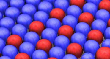 The evolution of physical morphogenesis: cell-like structures change from all blue, to red and blue, to structures of different sizes. (Credit: Fraden lab/Brandeis)