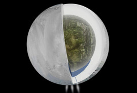 This diagram illustrates the possible interior of Saturn's moon Enceladus based on a gravity investigation by NASA's Cassini spacecraft and NASA's Deep Space Network. The gravity measurements suggest an ice outer shell and a low density, rocky core with a regional water ocean sandwiched in between at high southern latitudes. (Credit: NASA/JPL-Caltech)
