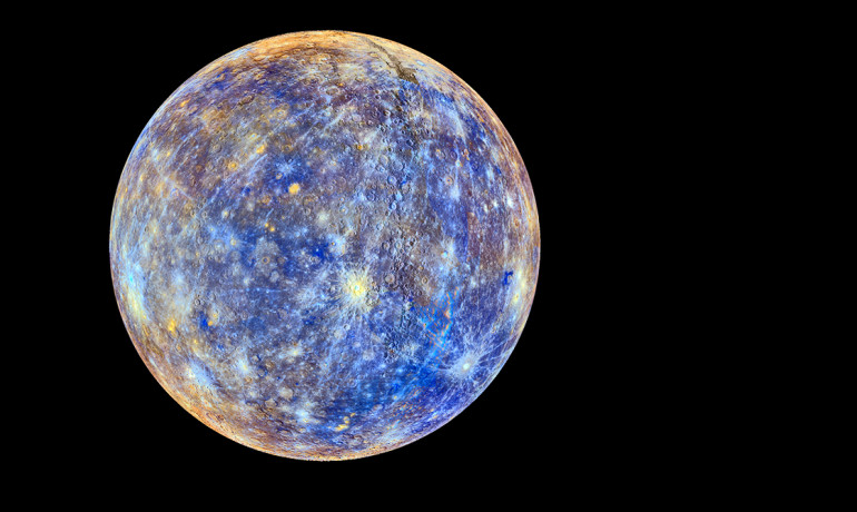 This colorful view of Mercury was produced by using images from the color base map imaging campaign during Messenger's primary mission. These colors are not what Mercury would look like to the human eye, but rather the colors enhance the chemical, mineralogical, and physical differences between the rocks that make up Mercury's surface. (Credit: NASA/Johns Hopkins University Applied Physics Laboratory/Carnegie Institution of Washington)