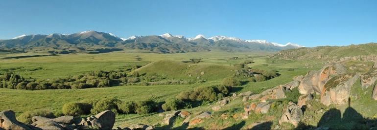 Panoramic view of the Byan Zhurek valley and setting near Tasbas. (Credit:  Michael Frachetti)