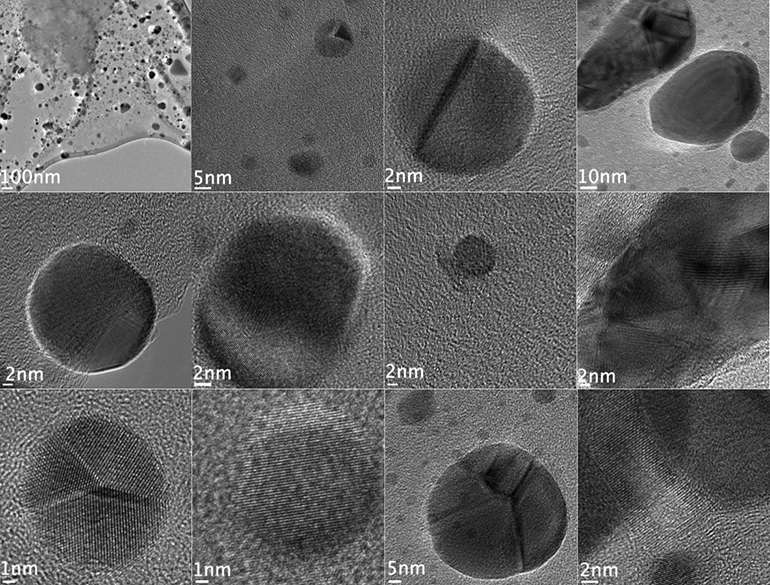 The dark spots in these images are nanodiamonds formed in hydrogenated anthracite coal when hit by beams from an electron microscope. (Credit: Billups Lab/Rice University)