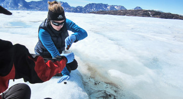 Stefanie Lutz (center) and Liane G. Benning (left) collect a biofilm sample on the Mittivakkat Glacier in Greenland. (Credit: Stefanie Lutz)