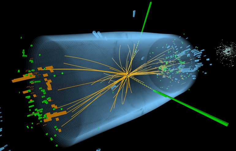The graphic shows particle traces extending from a proton-proton collision at the Large Hadron Collider in 2012. The event shows characteristics expected from the decay of the Standard Model Higgs boson to a pair of photons. Further analysis of collisions in 2011 and 2012 has found evidence that the Higgs also decays into fermion particles, according to the new paper. (Courtesy of CERN)