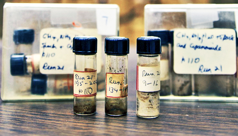 Stanley Miller labeled these vials containing samples of prebiotic materials for experiments in 1958. For unknown reasons, he had never analyzed the samples. (Credit: Scripps Institution of Oceanography, UC San Diego)