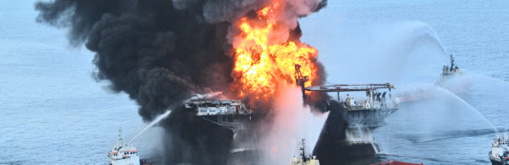 Tugboats battle the fire on the remains of the Deepwater Horizon offshore drilling platform on April 21, 2010. (Credit: Ideum - ideas + media/Flickr)