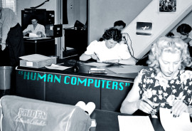 """The modified Jacobi method could be useful to an aerospace engineer who wants to test several different wing designs in a computer simulation program, for example. Above, human computers in the NACA High Speed Flight Station """"Computer Room."""" (Credit: Dryden Flight Research Center Photo Collection via Wikimedia Commons)"""
