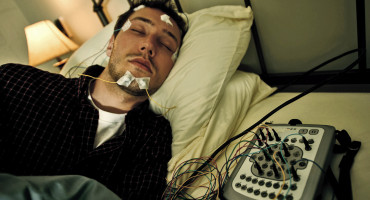 a person in the sleep study lab