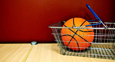 basketball in a shopping basket