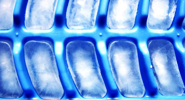 ice cubes in blue tray