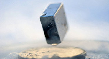 Levitation of a magnet on top of a superconductor