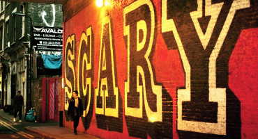 "The word ""scary"" painted on a wall"