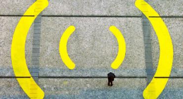giant wi-fi symbol on sidewalk