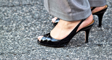 black heels and slacks