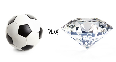 a soccer ball and a diamond