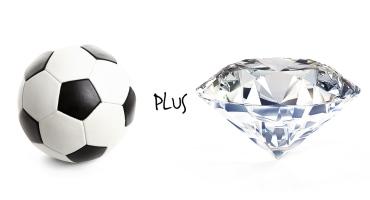 a soccer ball and a diamond