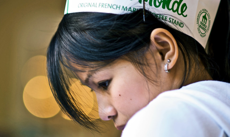 waitress in profile