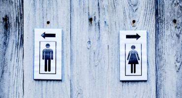 men and women's bathrooms