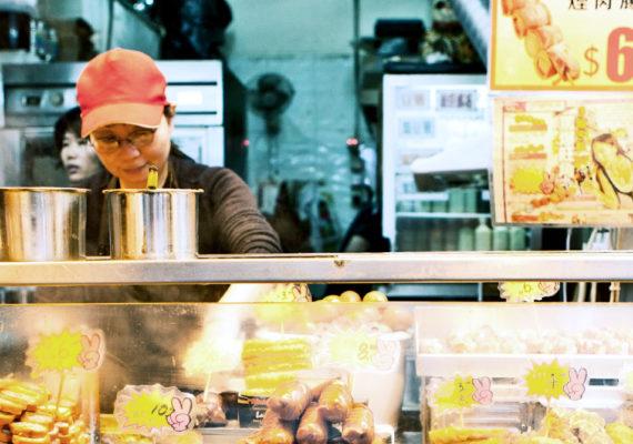 food vendor sells food in Hong Kong