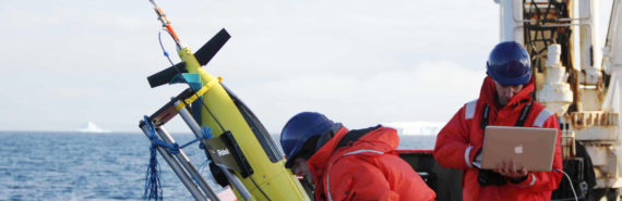 Oceanographers Liz Creed (Kongsberg, Inc.) and Andy Thompson (Caltech) run through a series of tests in preparation for the release of a Seaglider into the Weddell Sea in January 2012.