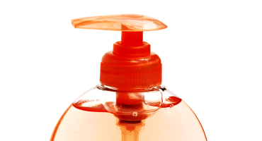 liquid handsoap in orange bottle