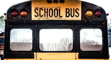 back window of a school bus