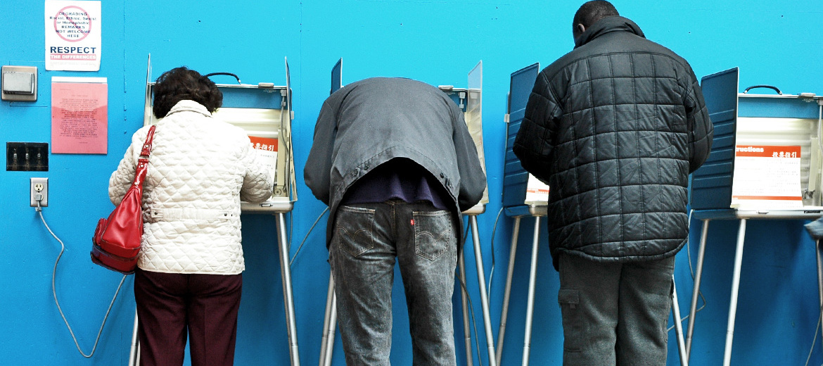 three people voting