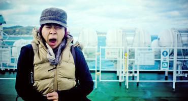woman yawns