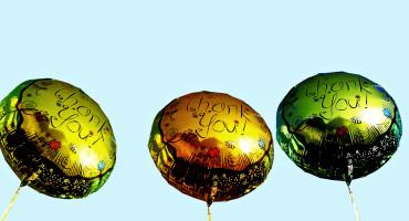three thank you helium balloons