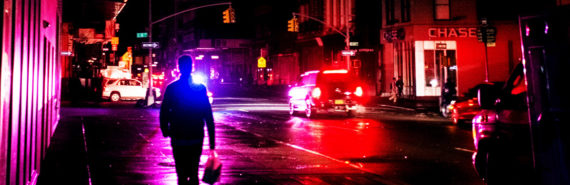 man on NYC street during black-out