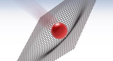 illustration of a microbullet hitting graphene