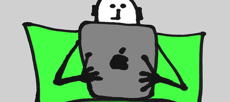 iPad in bed illustration